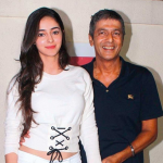 Indian Actress Ananya Pandey With Dad Chunky Pandey