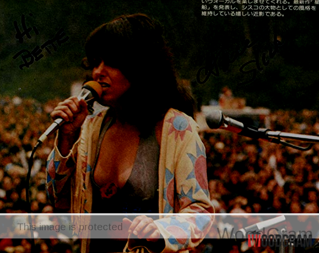 Grace Slick Jefferson Airplane, Starship Signed In Concert