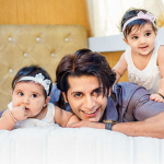 Karanvir Bohra With Cute Daughters