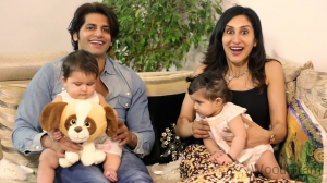 Karanvir Bohra With His Wife And Child Twins