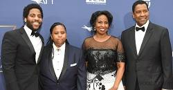 Denzel Washington With His Wife, Son And Daughter